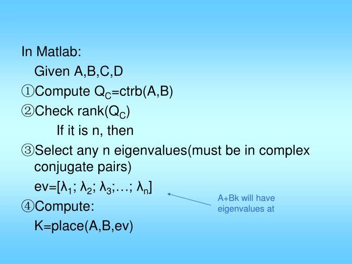 In Matlab: