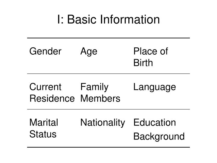 I: Basic Information