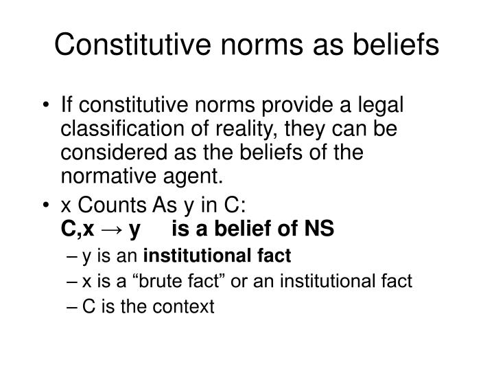 Constitutive norms as beliefs
