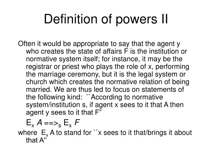 Definition of powers II