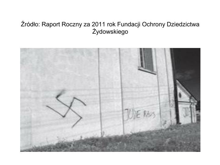Źródło: Raport Roczny za 2011 rok Fundacji Ochrony Dziedzictwa Żydowskiego
