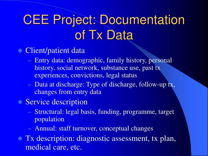 CEE Project: Documentation of Tx Data