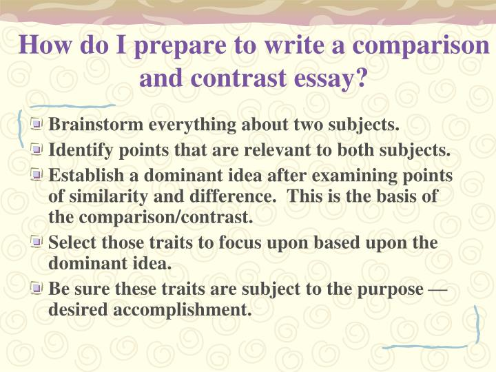 How do i write a compare and contrast essay