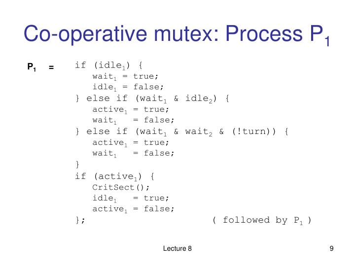 Co-operative mutex: Process P
