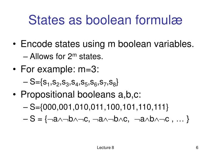 States as boolean formul
