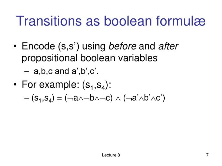 Transitions as boolean formul