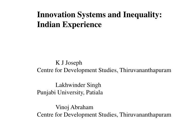 Innovation Systems and Inequality: