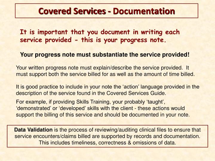 It is important that you document in writing each service provided - this is your progress note.