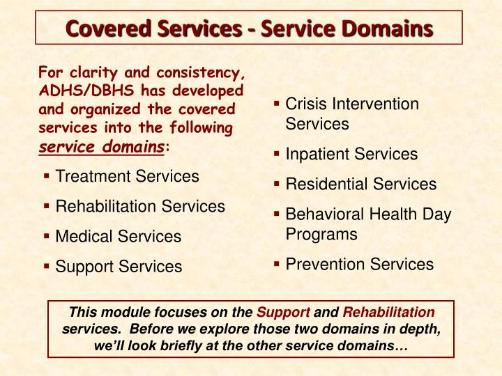 For clarity and consistency, ADHS/DBHS has developed and organized the covered services into the following