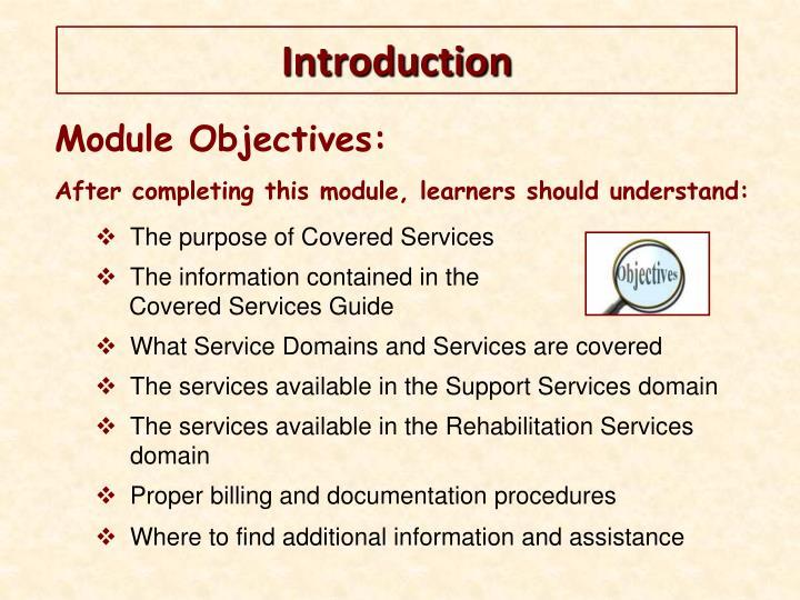 Module Objectives: