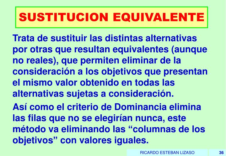 SUSTITUCION EQUIVALENTE