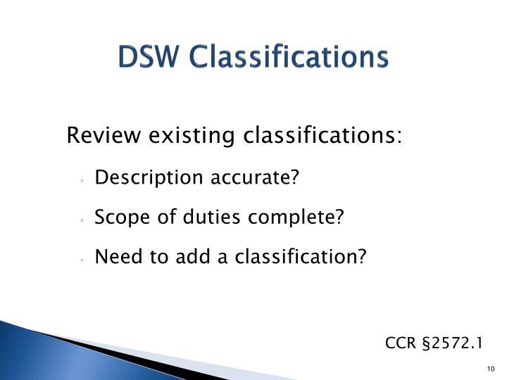 DSW Classifications