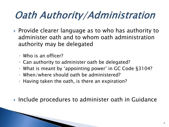 Oath Authority/Administration