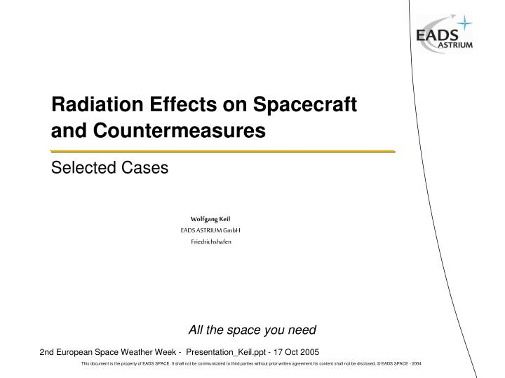 radiation effects on spacecraft and countermeasures