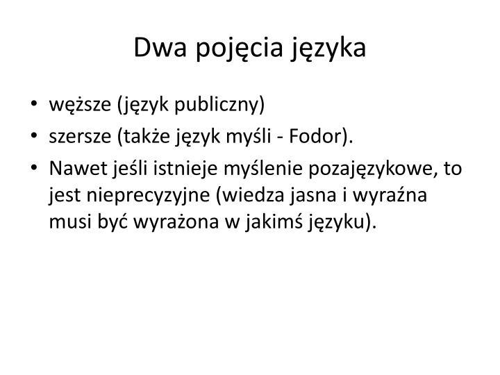 Dwa pojęcia języka
