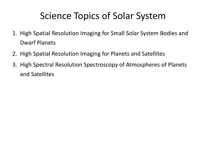 Science Topics of Solar System