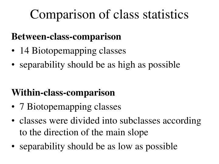 Comparison of class statistics