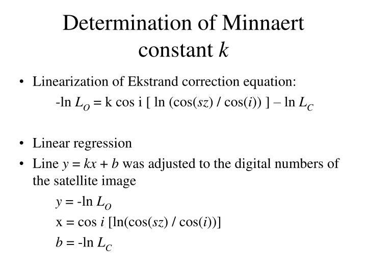 Determination of Minnaert constant