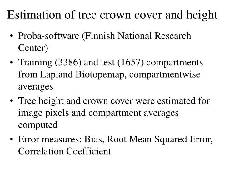 Estimation of tree crown cover and height
