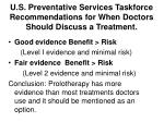 u s preventative services taskforce recommendations for when doctors should discuss a treatment