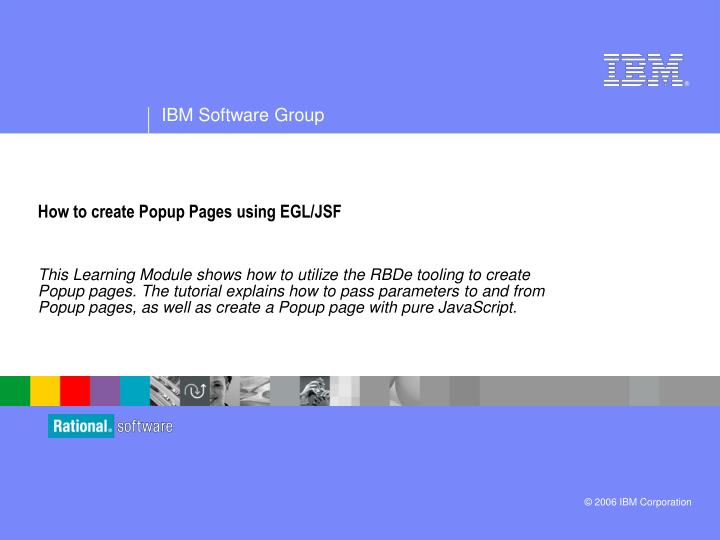how to create popup pages using egl jsf n.