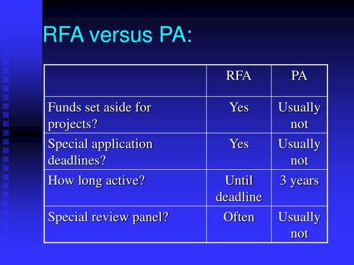 RFA versus PA: