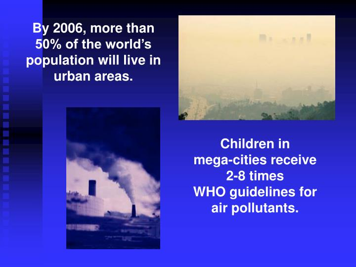 By 2006, more than 50% of the world's population will live in urban areas.
