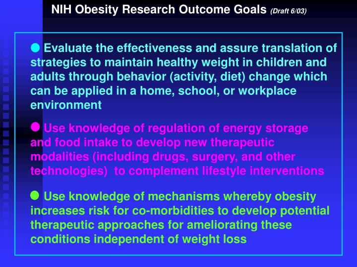 NIH Obesity Research Outcome Goals