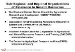 sub regional and regional organizations of relevance to genetic resources