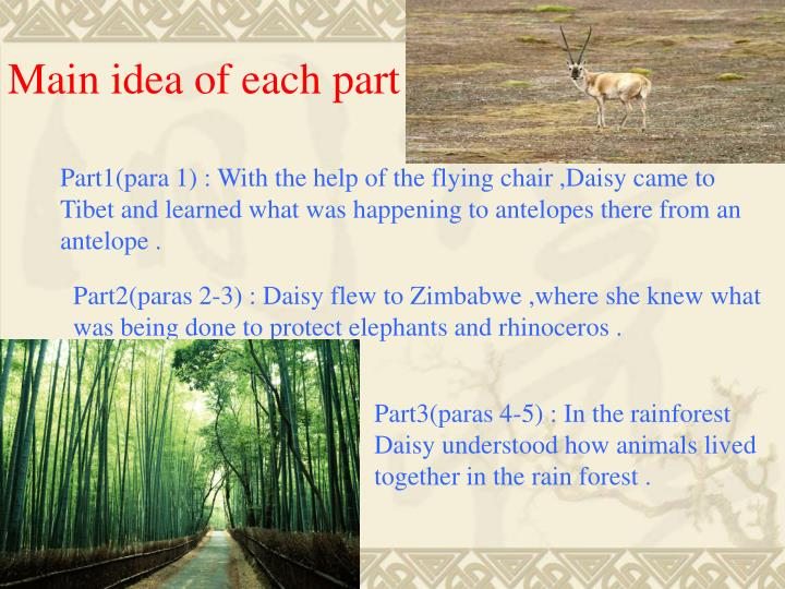 Main idea of each part :
