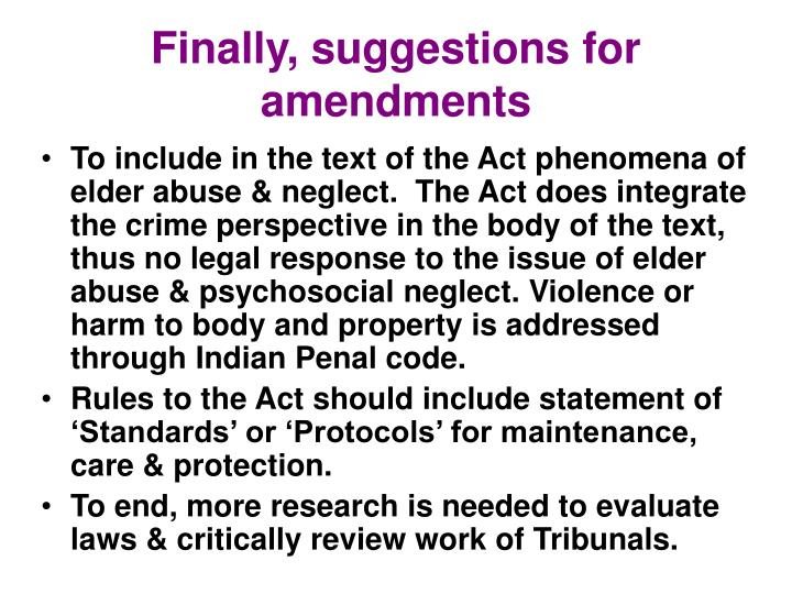 Finally, suggestions for amendments