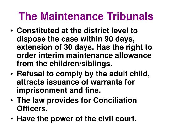 The Maintenance Tribunals