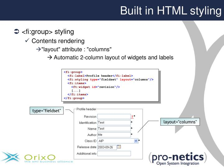 Built in HTML styling