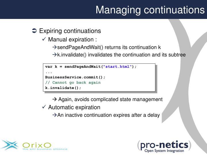 Managing continuations