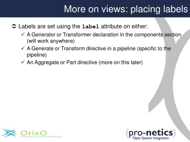 More on views: placing labels