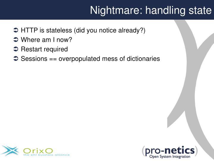Nightmare: handling state