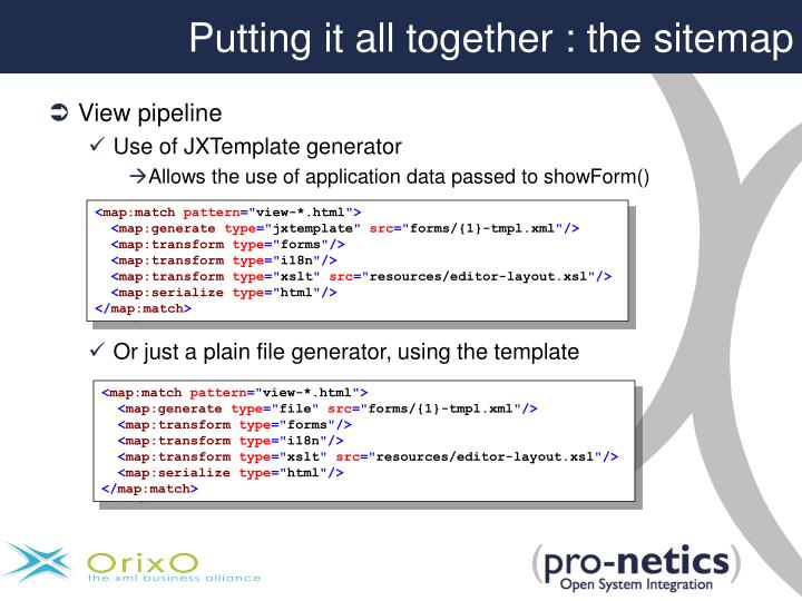 Putting it all together : the sitemap