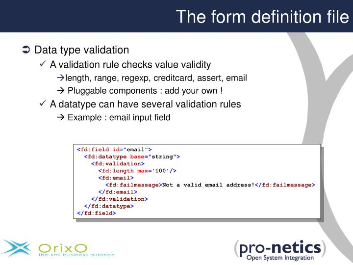 The form definition file