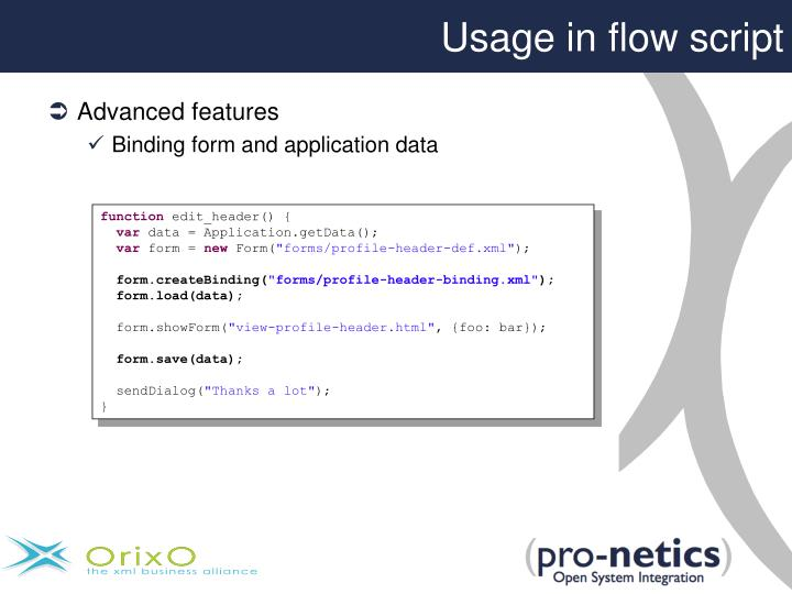 Usage in flow script