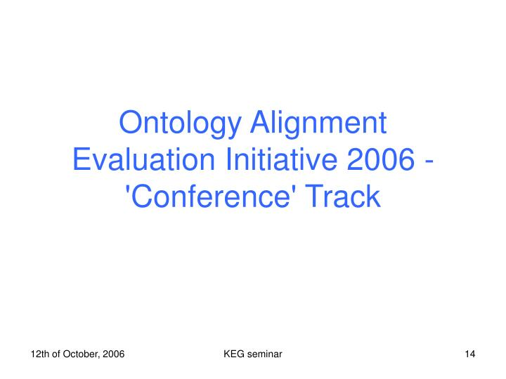 Ontology Alignment Evaluation Initiative 2006 - 'Conference' Track