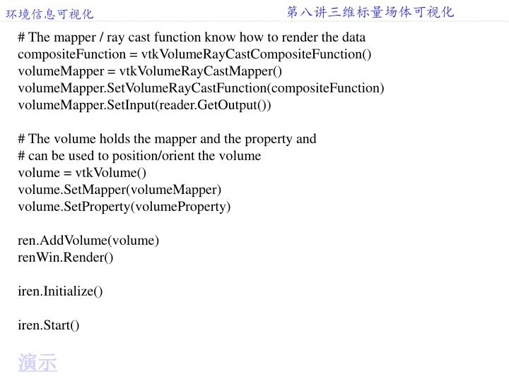 # The mapper / ray cast function know how to render the data