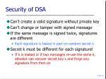 security of dsa
