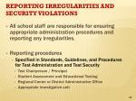 reporting irregularities and security violations