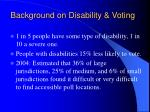 background on disability voting