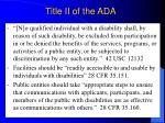 title ii of the ada