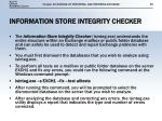 information store integrity checker
