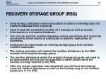 recovery storage group rsg
