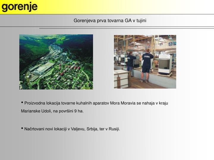 Gorenjeva prva tovarna GA v tujini