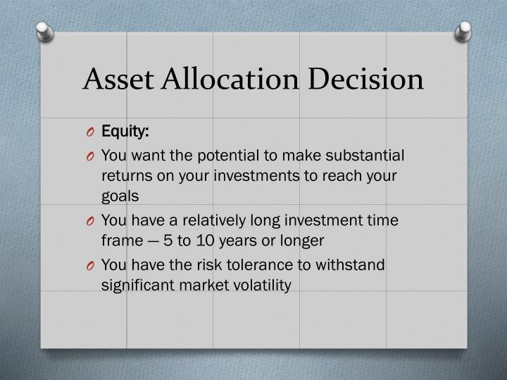 individual asset allocation exercise We will focus on the asset allocation decisions of individual investors or households individuals invest in the nancial markets to nance future consumption of which they obtain some felicity or utility.