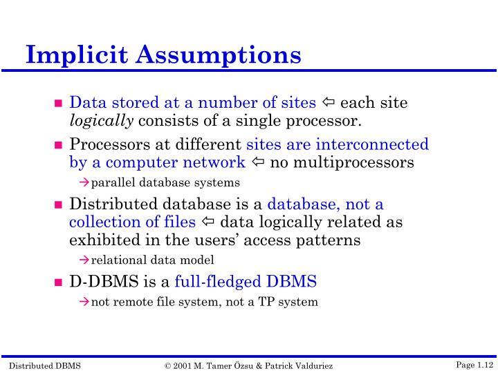 Implicit Assumptions